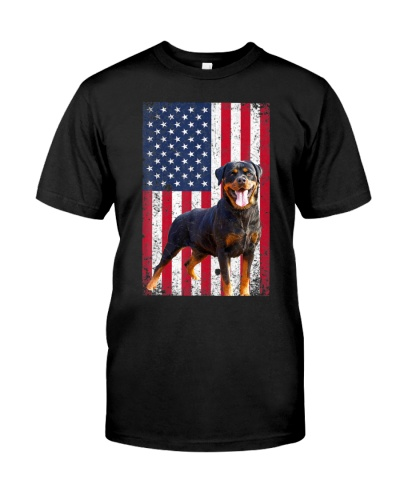 American Flag Rottweiler Dog Lover 4th of July