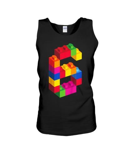 Kids 6 Year Old Building Blocks Birthday T Shirt