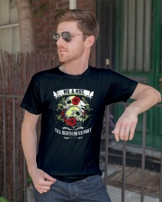 Skull roses Mr and Mrs till death do us part Classic T-Shirt lifestyle-mens-crewneck-front-2