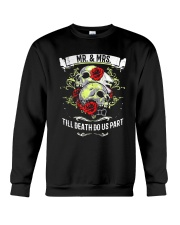 Skull roses Mr and Mrs till death do us part Crewneck Sweatshirt tile