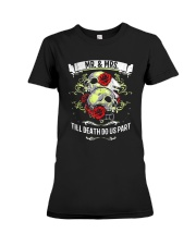 Skull roses Mr and Mrs till death do us part Premium Fit Ladies Tee thumbnail