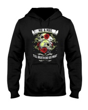 Skull roses Mr and Mrs till death do us part Hooded Sweatshirt front