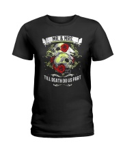 Skull roses Mr and Mrs till death do us part Ladies T-Shirt thumbnail
