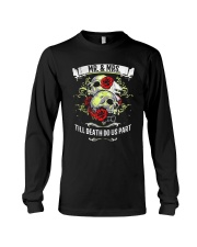 Skull roses Mr and Mrs till death do us part Long Sleeve Tee tile