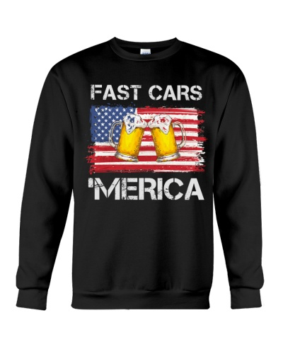 Fast car beer and merica