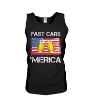 Fast car beer and merica Unisex Tank thumbnail