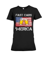 Fast car beer and merica Premium Fit Ladies Tee thumbnail
