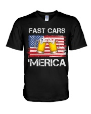 Fast car beer and merica V-Neck T-Shirt thumbnail