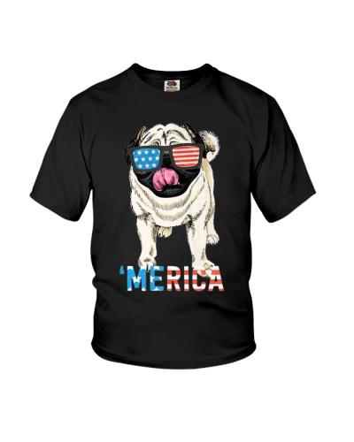 4th July Shirt Gift Men Women Kids Merica Pug USA