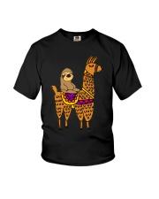 Cute sloth riding llama Youth T-Shirt thumbnail