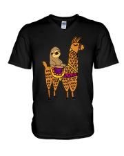 Cute sloth riding llama V-Neck T-Shirt thumbnail