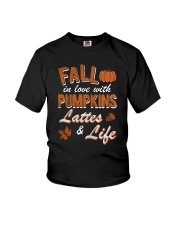 Fall in love with Pumpkins lattes and life shirt Youth T-Shirt front