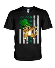 Dabbing Cat St Patricks Day  V-Neck T-Shirt thumbnail