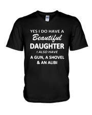 Yes I Do Have A Beautiful Daughter I Also Have Gun V-Neck T-Shirt thumbnail