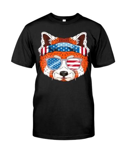 Red Panda July 4th US Flag USA Patriotic