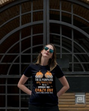 These pumpkins are protected by a smokin crazy Guy Ladies T-Shirt lifestyle-women-crewneck-front-1