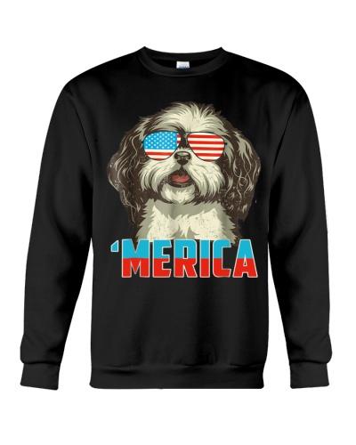 4th of July Patriot Shih Tzu Merica T Shirt for