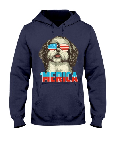 4th of July Patriot Shih Tzu Merica T Shirt for