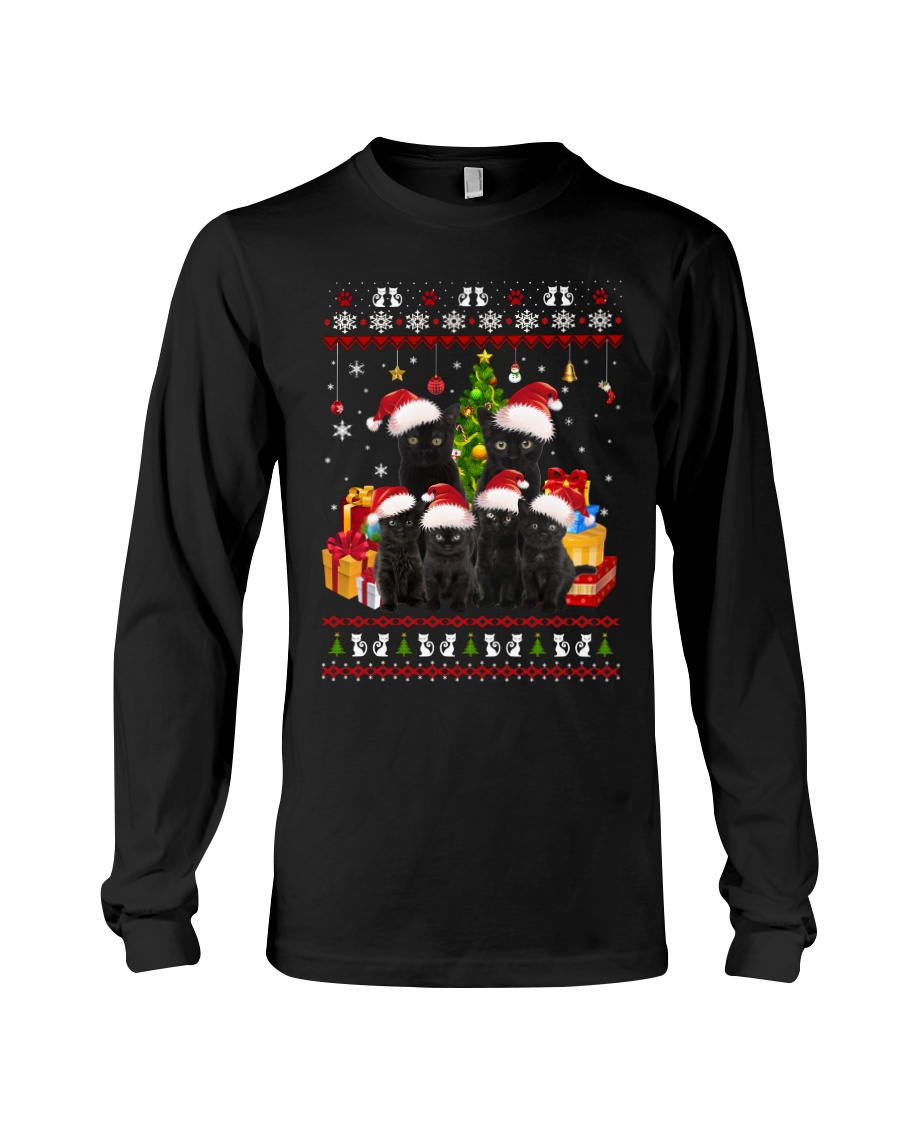 Black Cat Family Christmas Long Sleeve Tee