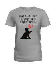 Black cat fill your heart 1211 Ladies T-Shirt thumbnail