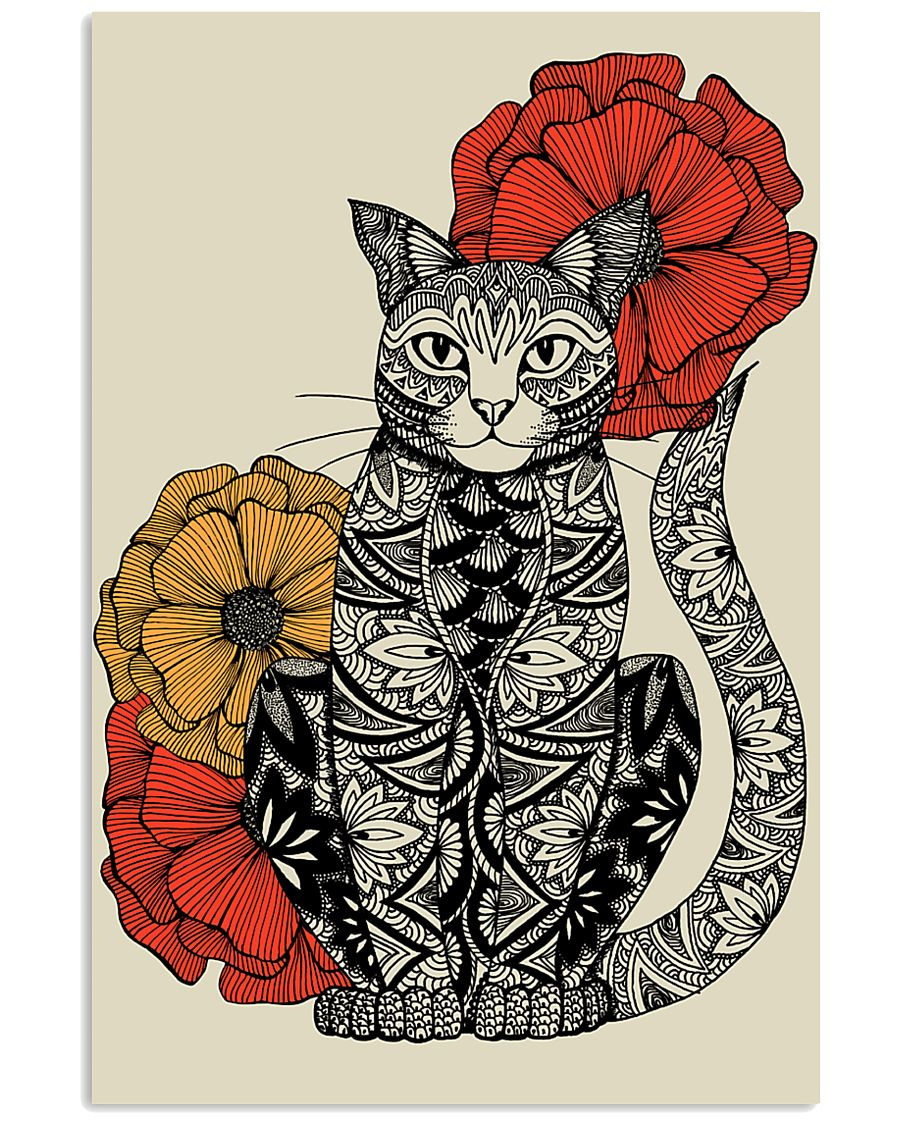 Cat Flowers Pattern Poster 0501 11x17 Poster