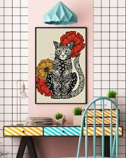 Cat Flowers Pattern Poster 0501 11x17 Poster lifestyle-poster-6