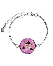 Black Cat Bubble  Metallic Circle Bracelet thumbnail