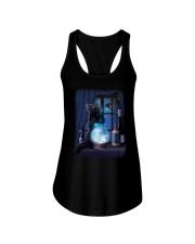 Black cat and magic ball Ladies Flowy Tank thumbnail
