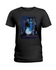 Black cat and magic ball Ladies T-Shirt thumbnail