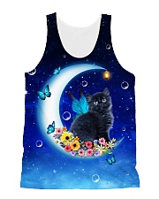 Black Cat on Moon 1112 All-over Unisex Tank front