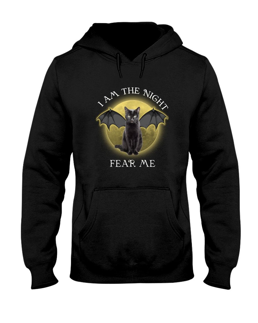 Black cat I am the night 1710 Hooded Sweatshirt