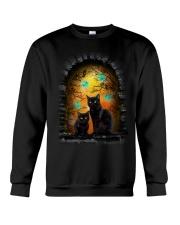 Black Cat Halloween Night Crewneck Sweatshirt thumbnail