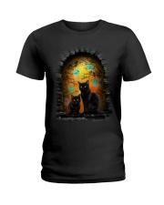 Black Cat Halloween Night Ladies T-Shirt thumbnail