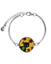 Black Cat And Sun Flower  Metallic Circle Bracelet thumbnail
