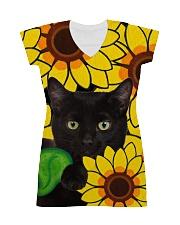 Black Cat And Sun Flower  All-over Dress thumbnail