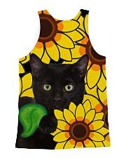 Black Cat And Sun Flower  All-over Unisex Tank back