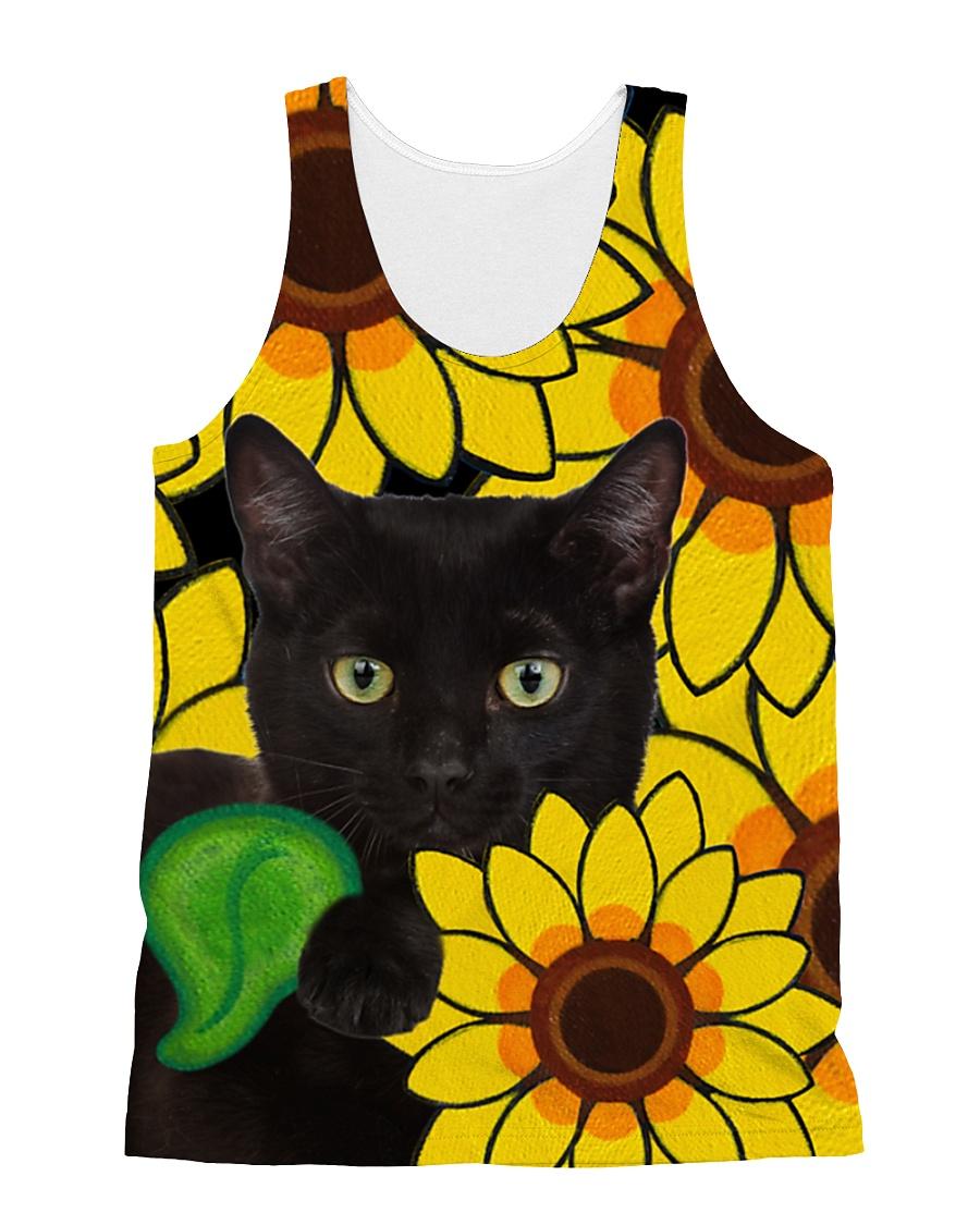 Black Cat And Sun Flower  All-over Unisex Tank