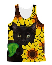 Black Cat And Sun Flower  All-over Unisex Tank front