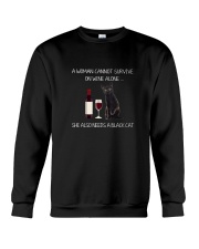 Black Cat and Wine Crewneck Sweatshirt thumbnail