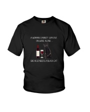 Black Cat and Wine Youth T-Shirt thumbnail