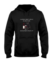Black Cat and Wine Hooded Sweatshirt thumbnail