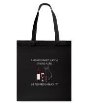 Black Cat and Wine Tote Bag thumbnail