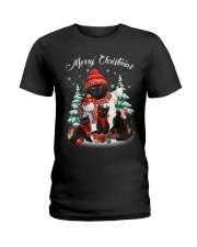 Black Cat And Snowman Costume Ladies T-Shirt thumbnail