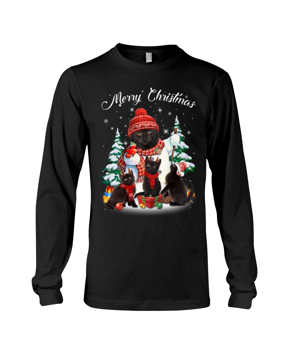 Black Cat And Snowman Costume Long Sleeve Tee