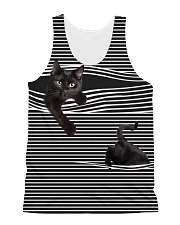 Black Cat Striped Many Color  All-over Unisex Tank front