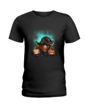 Cat light and pumpkin Ladies T-Shirt thumbnail