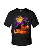 Black cat Halloween Youth T-Shirt tile