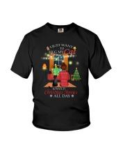 Black cat and Xmas movies Youth T-Shirt thumbnail