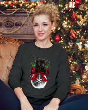 Black cat Snowball 0712 Crewneck Sweatshirt lifestyle-holiday-sweater-front-2