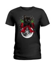 Black cat Snowball 0712 Ladies T-Shirt thumbnail
